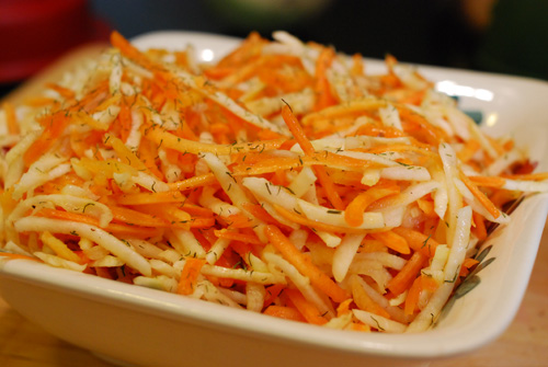 carrot, turnip and celeriac slaw